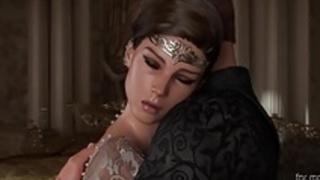 フェラチオを与える黒髪の王女
